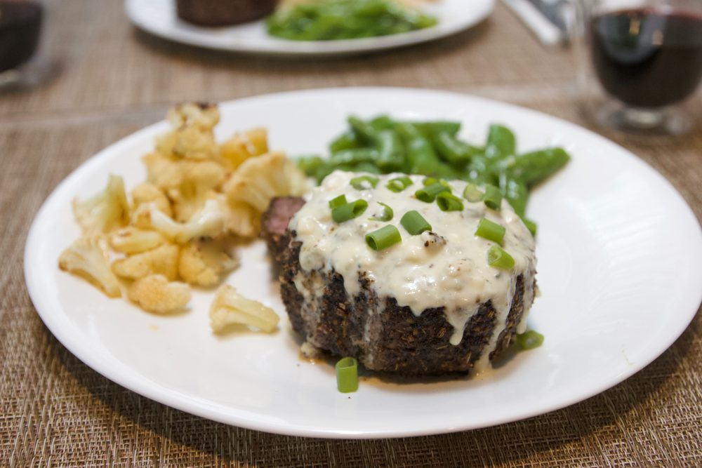 Lavender Pepper Steak with Blue Cheese Sauce
