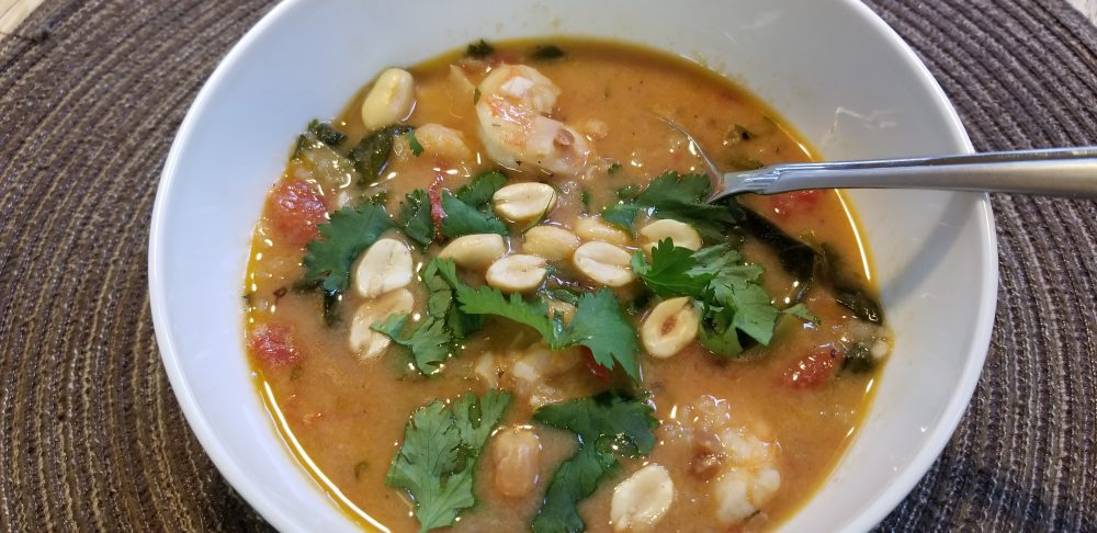 West African Peanut Soup with Shrimp
