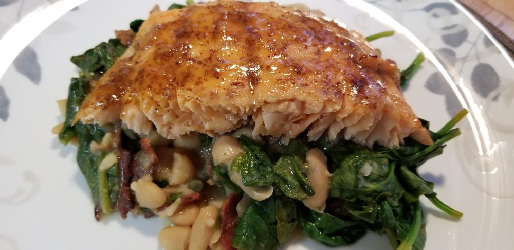 Salmon over Cannellini Beans and Spinach
