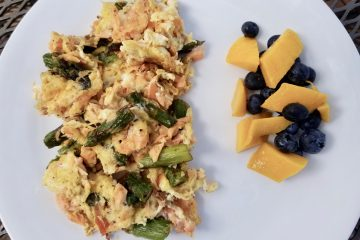 scrambled eggs, salmon, and asparagus
