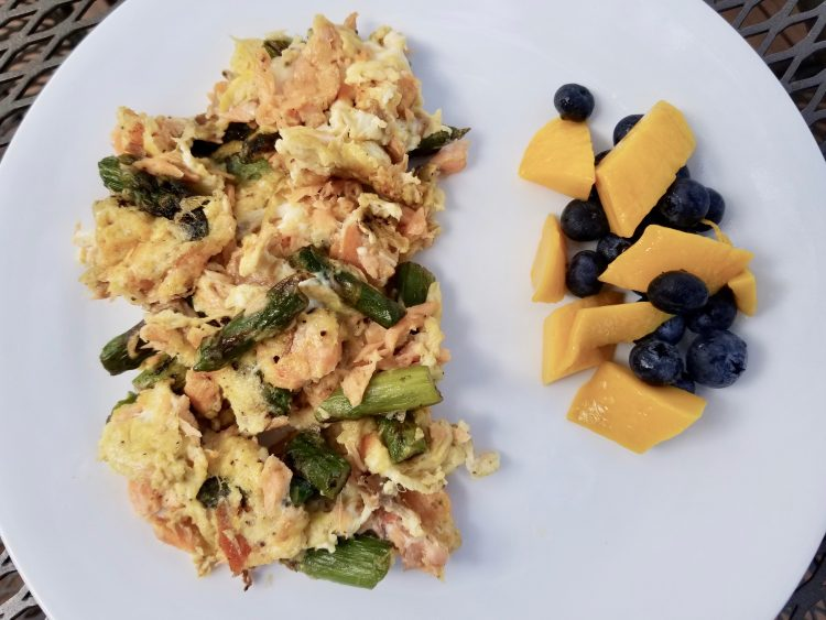 scrambled eggs, salmon, and asparagus