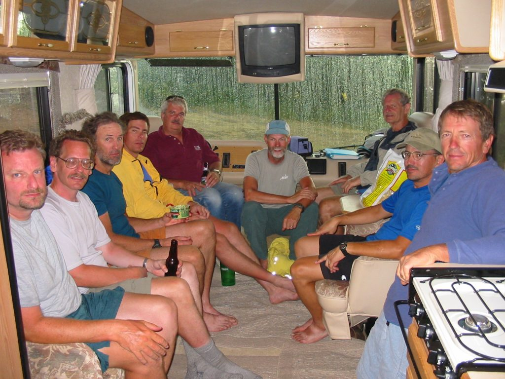Dinner in RV during storm