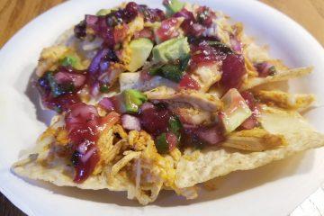 turkey nachos with cranberry salsa