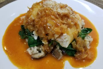 halibut with red curry sauce
