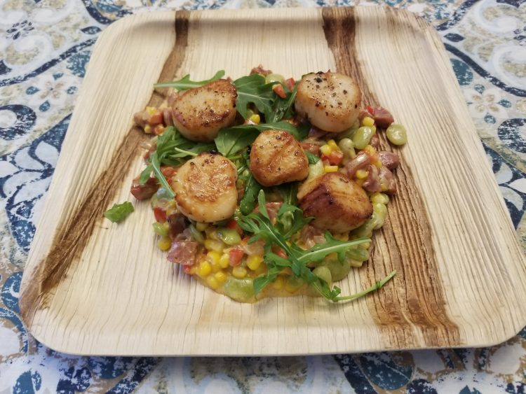 scallops with cajun succotash