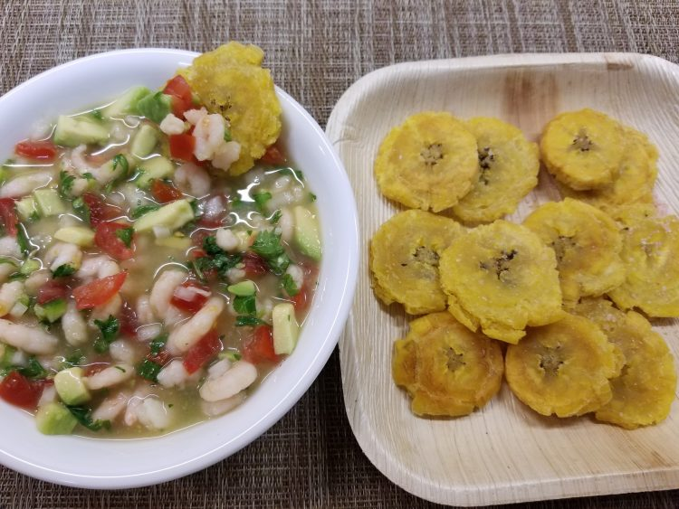 Patacones with ceviche