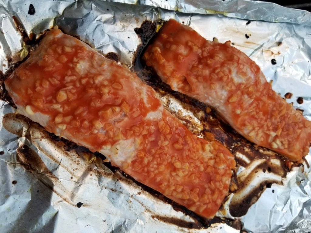 Grilled red hot salmon